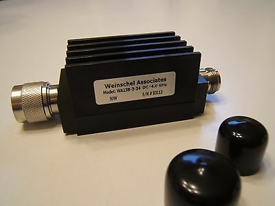 Weinschel Associates Wa23B-3-34 Attenuator. 3Db 50W 4Ghz.n Male To Female. New