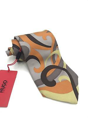 $325 HUGO BOSS Men ITALY ORANGE GRAY DRESS NECKTIE SKINNY SLIM SILK TIE 57 x 3.5