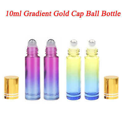 5*10ml THICK Gradient Glass Roll On Bottles Metal Roller Ball Essential Oils EA