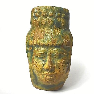 Rare Ancient Egyptian FAIENCE HEAD OF WOMAN STATUE  (600–1000 BC