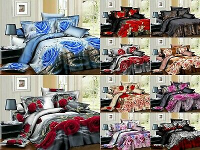 4 Piece 3D Duvet Quilt Cover Bedding Set With Fitted Sheet + Pillow Covers