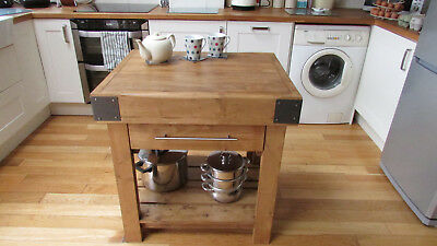 Handcrafted Butchers Block Kitchen Island Country Vintage Style