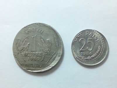 India 1 Rupee 1984 and 25 Piastres 1986 Error Strike Coins  #JSE