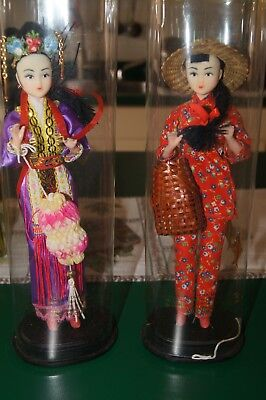 Two Hand Made Chinese Souvenir Dolls In Box - One from Singapore Collector Items