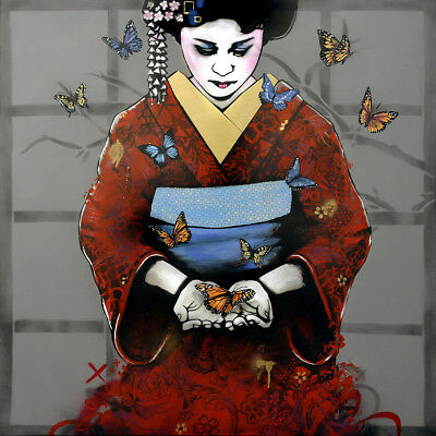 COPYRIGHT Hand finished Print w/ gold leaf | Urban, Street art graffiti, geisha