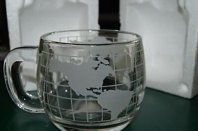 "Nestle Etched Clear Glass World Globe Coffee Mug - 3"" Tall (set of 4) in the box"