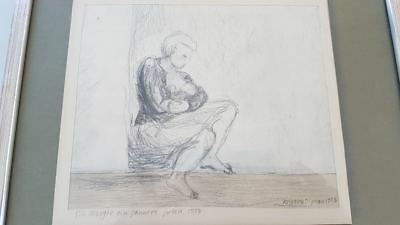 Drawing signed 1975. Dessin signé 1975