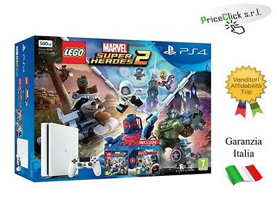 Ps4 Console 500Gb E Chassis Slim White + Lego Marvel Super Heroes 2 + Lego Marve