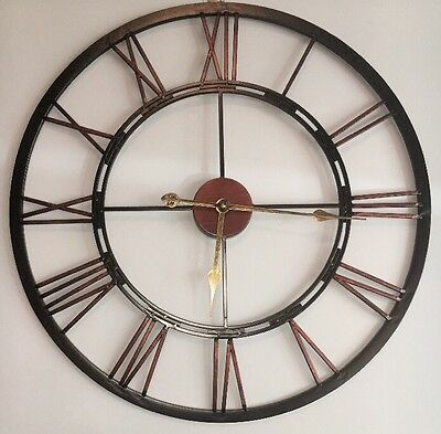 X Large Cut Out Skeleton Black Copper Iron Metal Numeral Wall Clock NEW Kitchen
