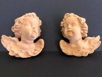 Antique Hand Carved Pair of Winged Angel Cherub Putti Wall Hangings