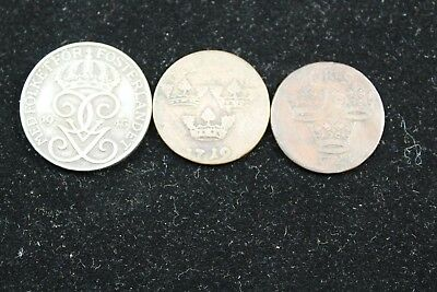 Sweden 3 coins  1700's and 1943    lot 725