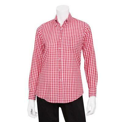Chef Works - W500WRC-S - Women's Red Gingham Dress Shirt (S)
