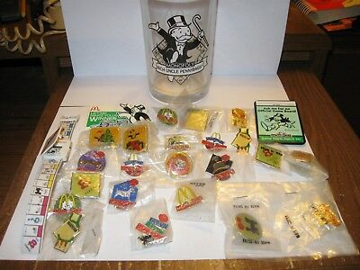 McDonald's Monoply Collectibles PIns, Watch, Glass