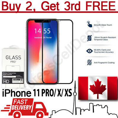 Premium Full Cover Curved Tempered Glass Screen Protector for Apple iPhone X XS