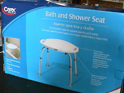 Carex Bath and Shower Seat-Adjustable Height. Easy to grip handles. - NEW