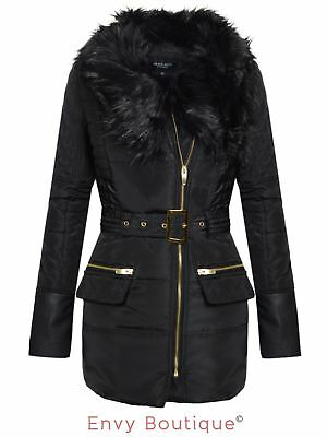Ladies Womens Padded Quilted Winter Fur Collar Belted Jacket Coat Size 8-16