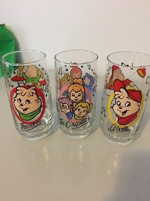 3 Vintage 1985 The Chipmunks Theodore and Alvin Glass Cups