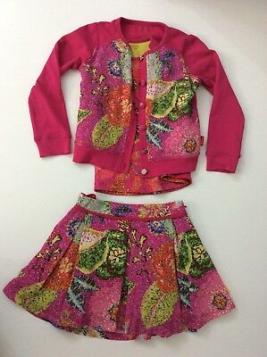 Oilily Girls Outfit, Set, Age 3 98cm, Cardigan, Top & Skirt, Vgc