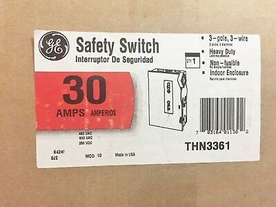 New In Box Ge General Electric Thn3361 Heavy Duty Safety Switch 30A Best Price