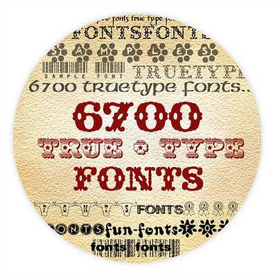 6,700 TRUE TYPE FONTS CD Collection, Graphic Design, Scrapbooking Free Shipping