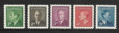 Canada #289-293 King George VI Postes-Postage Omitted Complete Set 1950 MNH