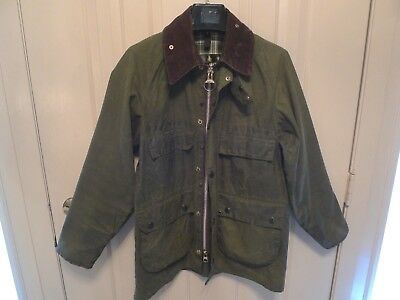 Barbour-  A100 Bedale  Waxed Cotton Jacket-Shabby Chic- Rare-4 Front Pockets-36