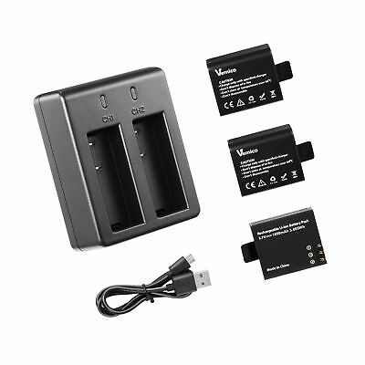Action Camera Battery, Vemico 3x1050mAh Rechargeable Sports Action Camera Bat...