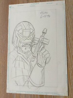Michael Avon Oeming Original Judge Dredd Comic Art 1994