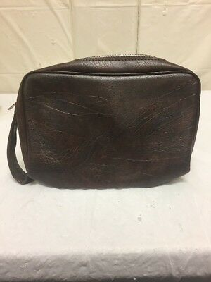 194b377447f4 Vintage Flint Mens Brown Leather Toiletry Bag Travel Bag - Bathroom Shaving  Kit