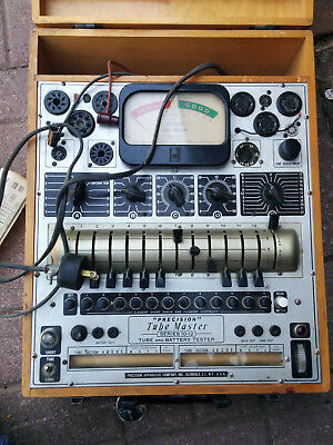 Vintage Precision 10-12 Tube and Battery Tester Model Tube Master Wood Case