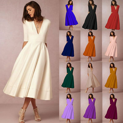 AU Plus Size Womens Vintage Long Prom Cocktail Ladies Evening Party Swing Dress