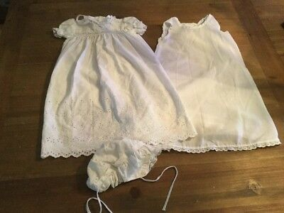 Vintage Polly Flinders Christening Dress With Underdress & Bonnet - 6-12 Months