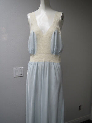 1930s Silk Rayon Nightgown Blue With White Lace Trim Floor Length Bia Cut Ex/Con