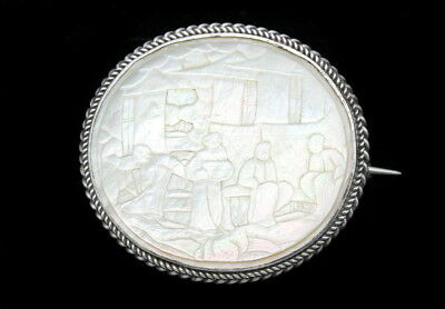 Fine Antique Chinese Hand Carved Mother Of Pearl Silver Brooch
