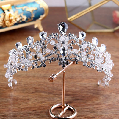 Baroque Wedding Bridal Silver Princess Crystal Headband Crown Tiara Accessories