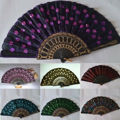Embroidered Peacock Tail Folding Sequins Hand Held Fan Wedding Party Decor Decal