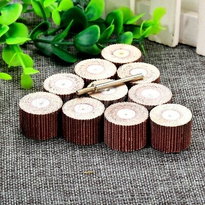 10Pcs 20mm Sanding Sandpaper Flap Wheel Pads w Shank 240 Girt Rotary Tool UK
