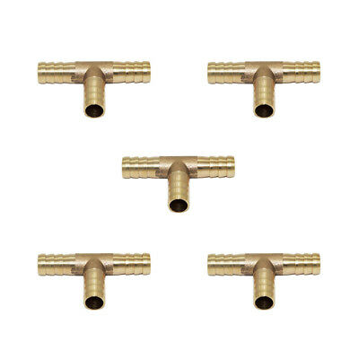 5pcs Brass Tee Union Mender Joiner Barb Hose Pipe Fittings Tee Connector