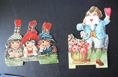 Lot of 2 Vintage 1920s Germany Diecut Movement Valentine Day Cards