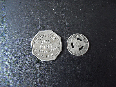 Lot of 2 Vintage Metal Tokens Keller Dairy and Philadelphia Transit