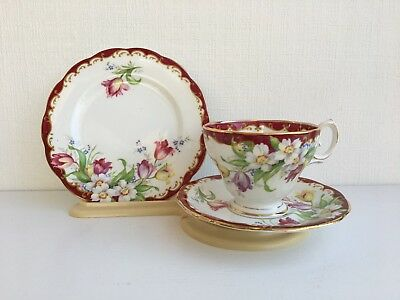 Bell China Red NARCISSUS Trio - Tea Cup, Saucer and Plate (440)