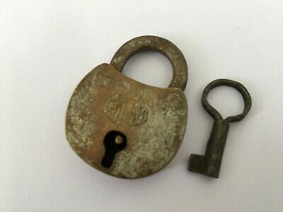 Vintage Antique Shape Hand Crafted Brass Pad Lock Collectible Rich Patina gulab