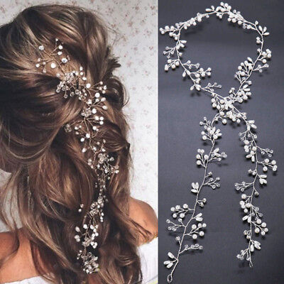 WOMENS BRIDAL PEARL HAIR VINE Crystal Hot Accessory Wedding Bead Vintage
