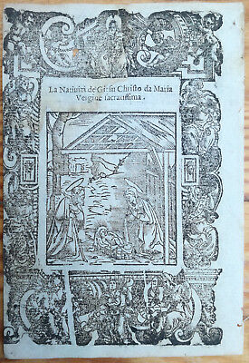 Post Incunable Leaf Rosario Woodcut Birth of Christ... Venice - 1521#