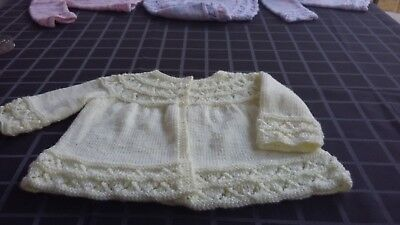 New Hand Knitted Baby Matinee, 6-12 Months, Patons 4 Ply, Lemon