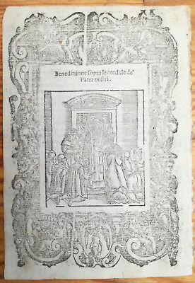 Post Incunable Leaf Rosario Woodcut Benedittione Pater nostri... Venice - 1521#