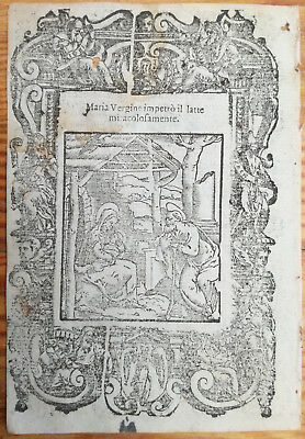 Post Incunable Leaf Rosario Woodcut Mary breastfeed Jesus.. Venice - 1521#