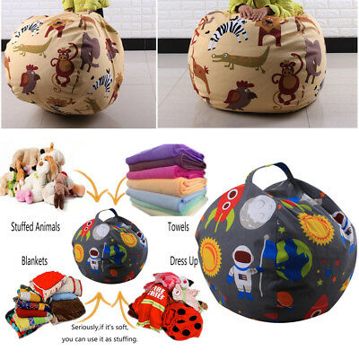 Kids Lovely Stuffed Animal Plush Toy Storage Bean Bag Soft Pouch Fabric Chair