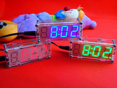 DIY Digital LED Electronic Clock Microcontroller Watch Desktop Time Thermometer
