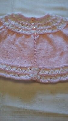 New Hand Knitted Baby Matinee, Girls, 6-12 Months, Patons 4 Ply, Pink/White